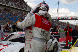 Race winner Martin Tomczyk, Audi Sport Team Phoenix celebrates with Timo Scheider, Audi Sport Team Abt