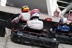 Jenson Button, McLaren Mercedes and Pedro de la Rosa, Test driver, McLaren Mercedes