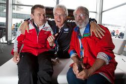 Marcel Fässler, Peter Wyss and Swiss journalist Christian Borel share a laugh