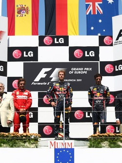 Podium: 1. Sebastian Vettel, 2. Fernando Alonso, 3. Mark Webber