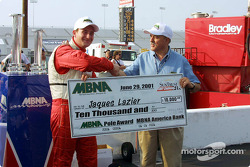Jaques Lazier receiving the MBNA Pole check