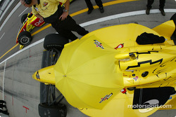 Sam Hornish Jr. under the umbrella