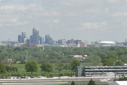 The city of Indianapolis shot from the Indianapolis Motor Speedway