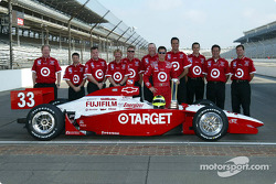 Pole winner Bruno Junqueira with Chip Ganassi Racing team