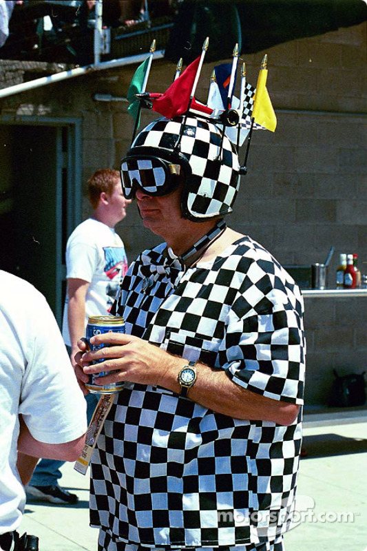 A checkered fan
