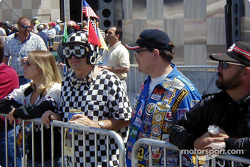 Superfan wearing a bizarre checkered flag outfit