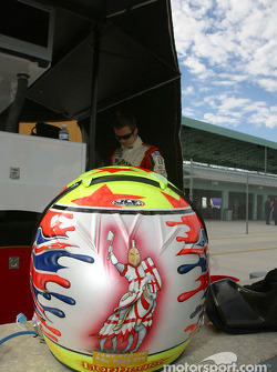 Dan Wheldon and his helmet