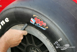 IRL celebrated the race 100 with this tire marking