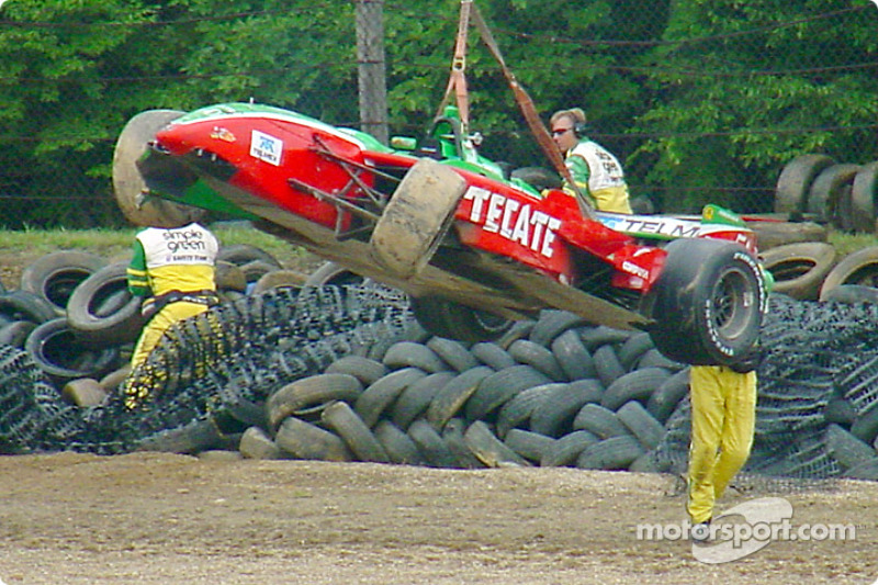 Adrian Fernandez's car after the accident