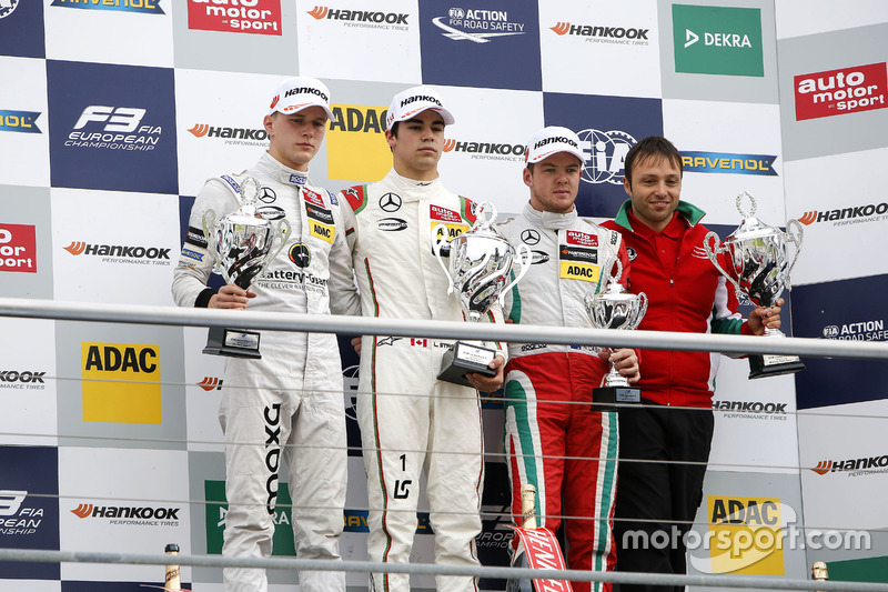 Podium : le vainqueur Lance Stroll, Prema Powerteam Dallara F312 - Mercedes-Benz; le deuxième Maximilian Günther, Prema Powerteam Dallara F312 - Mercedes-Benz; le troisième Nick Cassidy, Prema Powerteam Dallara F312 - Mercedes-Benz