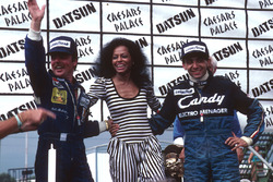 Podium: 1. Michele Alboreto, Tyrell Ford, 2. und Weltmeister Keke Rosberg, Williams Ford