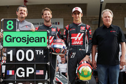 (L to R): Guenther Steiner, Haas F1 Team Prinicipal; Romain Grosjean, Haas F1 Team; Esteban Gutierrez, Haas F1 Team; and Gene Haas, Haas Automotion President at a team photograph