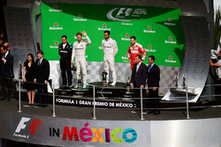 The podium (L to R): Nico Rosberg, Mercedes AMG F1, second; Lewis Hamilton, Mercedes AMG F1, race winner; Sebastian Vettel, Ferrari, third