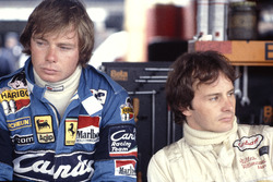 Didier Pironi and Gilles Villeneuve in the pit garage together