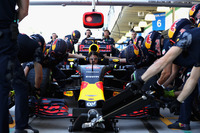 The Red Bull Racing team practice pit stops