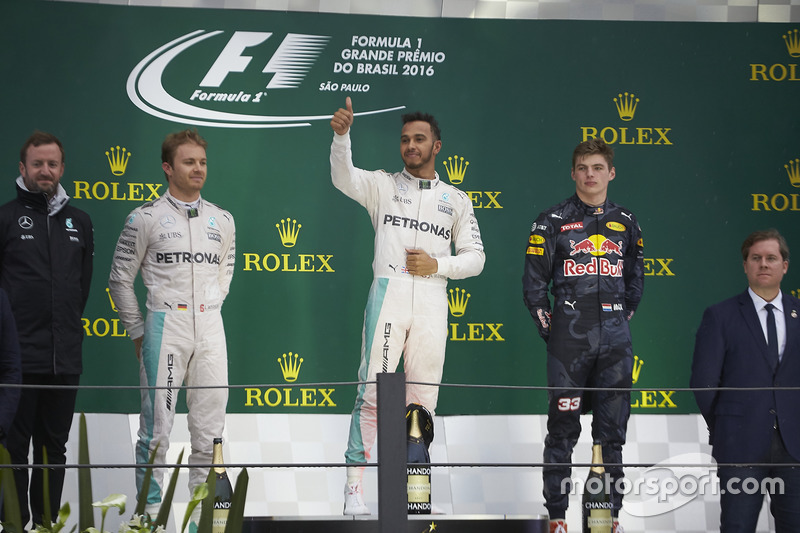2016: 1. Lewis Hamilton, 2. Nico Rosberg, 3. Max Verstappen