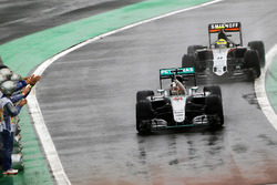Race winner Lewis Hamilton, Mercedes AMG F1 W07 Hybrid celebrates as he enters parc ferme at the end of the race