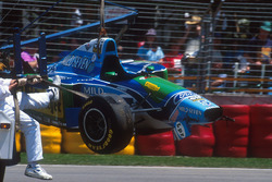 Michael Schumacher, Benetton B194 Ford after the crash