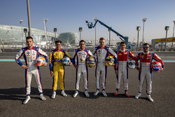Team Trident, foto con i piloti di GP2 e GP3 Philo Paz Armand, Trident, Luca Ghiotto, Trident, Antonio Fuoco, Trident, Artur Janosz, Trident, Giuliano Alesi, Trident e Sandy Stuvik, Trident