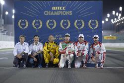 All FIA WTCC Worldchampions, Roberto Ravaglia, Andy Priaulx, Gabriele Tarquini, LADA Sport Rosneft, Lada Vesta; Rob Huff, Honda Racing Team JAS, Honda Civic WTCC; Yvan Muller, Citroën World Touring Car Team, Citroën C-Elysée WTCC; José María López, Citroën World Touring Car Team, Citroën C-Elysée WTCC