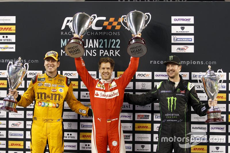 Подиум Кубка наций: Себастьян Феттель (команда Германии); Кайл Буш и Курт Буш (команда США NASCAR)