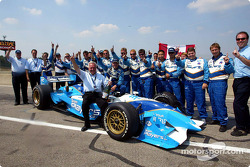 Patrick Carpentier celebrating victory with Team Player's