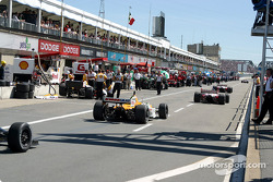 Cars coming in after the first half of the session