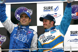 The podium: race winner Dario Franchitti and Patrick Carpentier