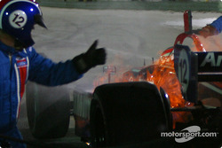 Pitstop for Jimmy Vasser: car catches fire