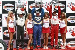 Podium: race winner Paul Tracy with Michel Jourdain Jr. and Bruno Junqueira