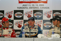 Press conference: race winner Paul Tracy with Michel Jourdain Jr. and Bruno Junqueira