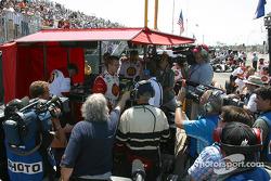 Media attention for pole winner Sébastien Bourdais
