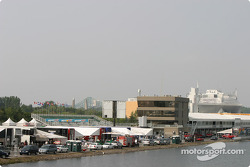 A view of the paddock area and the control tower