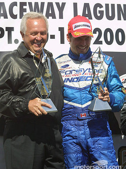 Podium: race winner Patrick Carpentier with Gerry Forsythe