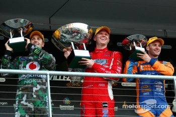 Podium: race winner Garth Tander, second place Jamie Whincup, third place Will Davison