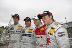 Christian Vietoris, Persson Motorsport, AMG Mercedes C-Klasse 2008; Bruno Spengler, HWA AG, Mercedes AMG C-Klasse 2009; Edoardo Mortara, , Audi Sport Team Rosberg, Audi A4 DTM 2008; Renger van der Zande, Persson Motorsport, AMG Mercedes C-Klasse 2008