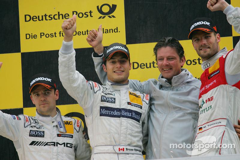 Podium: race winner Bruno Spengler, Team HWA AMG Mercedes, second place Jamie Green, Team HWA AMG Me