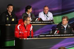 James Allison Technical Director, Lotus Renault GP, Stefano Domenicali Ferrari General Director, Monisha Kaltenborn, Managing director, Sauber F1 Team, Mark Gallagher, Cosworth, Norbert Haug, Mercedes, Motorsport chief