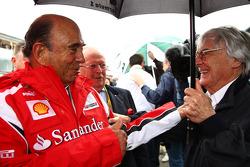 Emilio Botin, Santander Bank President with Bernie Ecclestone