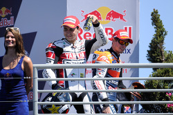 Podium: race winner Casey Stoner, Repsol Honda Team, second place Jorge Lorenzo, Yamaha Factory Racing