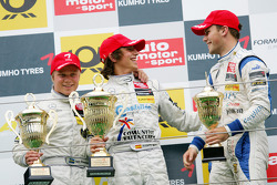 Podium: race winner Roberto Merhi, Prema Powerteam Dallara F308 Mercedes, second place Timo Scheider,, Audi Sport Team Abt Sportsline, Audi A4 DTM, third place Laurens Vanthoor, Signature Dallara F309 Volkswagen