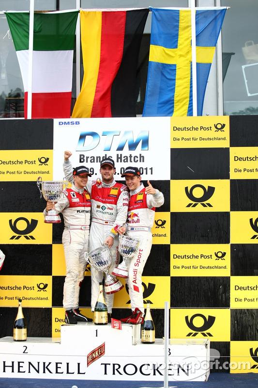 Martin Tomczyk, Audi Sport Team Phoenix; Mattias Ekström, Audi Sport Team Abt; Edoardo Mortara, Audi