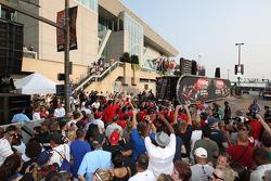 Crowd at the podium celebration