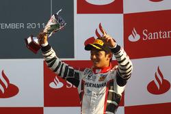 Rio Haryanto, celebrates on the podium
