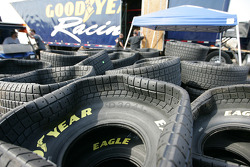 Tires waiting to be picked up by team members