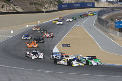 Start: #16 Dyson Racing Team Lola B09/86: Chris Dyson, Guy Smith, Jay Cochran and #20 Lola B09/86 Mazda: Humaid Al Masaood, Steven Kane, Butch Leitzinger battle for the lead