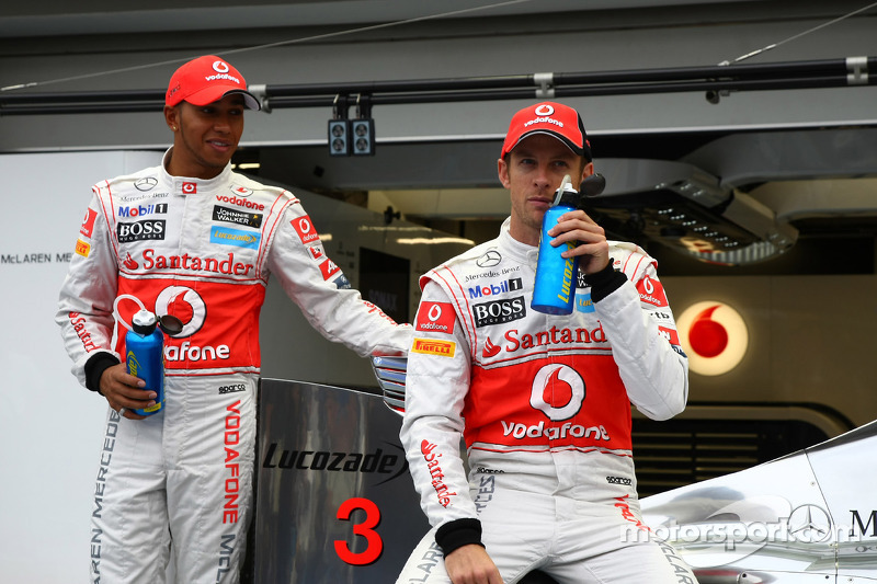 Jenson Button, McLaren Mercedes and Lewis Hamilton, McLaren Mercedes with a new sponser Lucozade