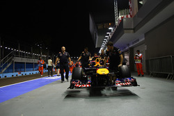 Sebastian Vettel's car in the pit lane