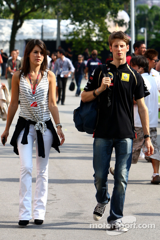 Romain Grosjean, Lotus Renault GP and his girlfriend Marion Joles