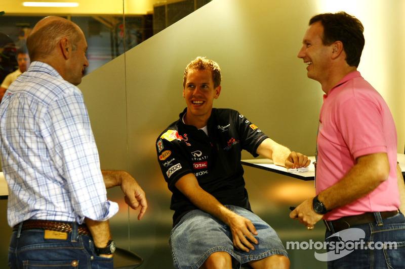 Christian Horner, Red Bull Racing, Sporting Director, Adrian Newey, Red Bull Racing, Technical Operations Director and Sebastian Vettel, Red Bull Racing
